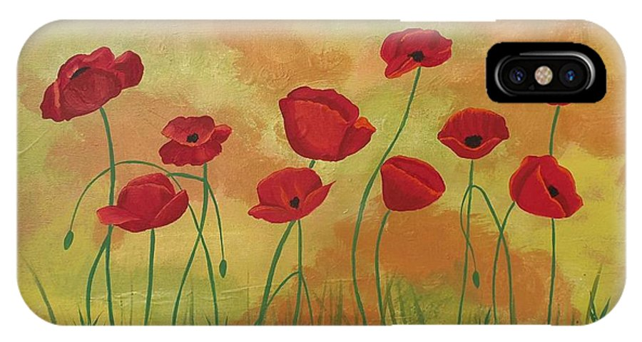 Red Poppies IPhone X / XS Case featuring the painting Field Of Red Poppies by Jean Fry