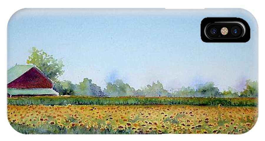 Landscape IPhone Case featuring the painting Field Of Sunshine by Patricia Henderson