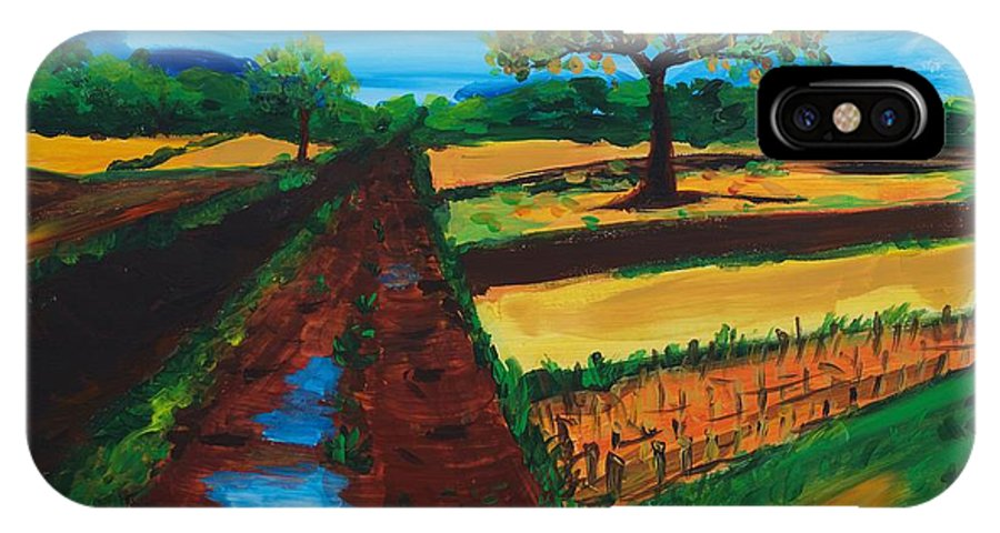 Acrylic Modern Painting IPhone X Case featuring the painting Field Road by Lidija Ivanek - SiLa