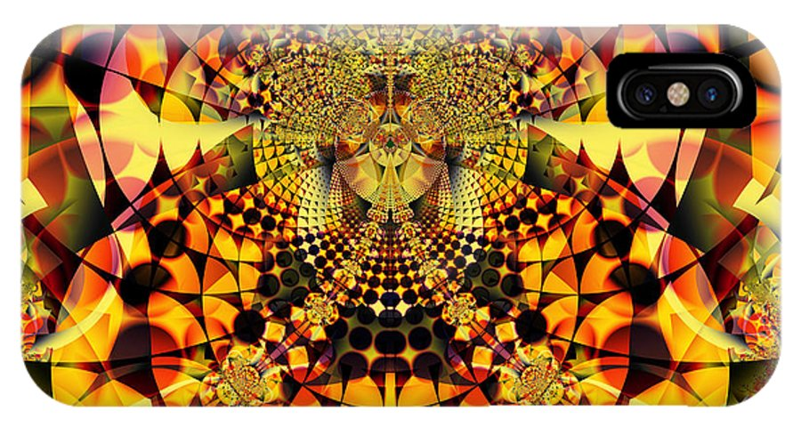 Abstract IPhone X Case featuring the digital art Fiery Bloom by Frederic Durville