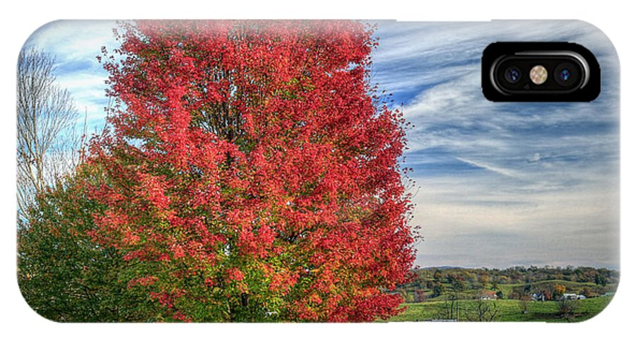 Maple IPhone X Case featuring the photograph Fiery Red Maple by Jaki Miller