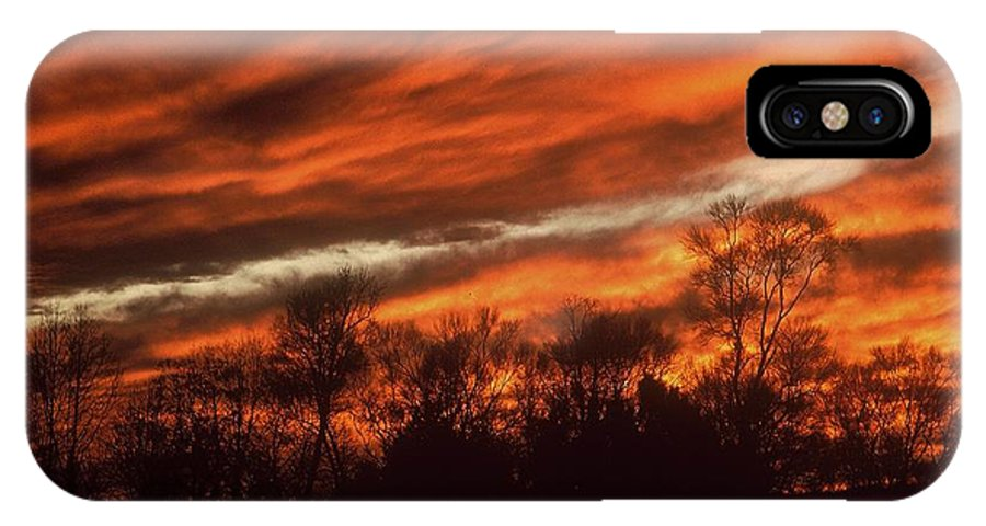 Sunsets IPhone X Case featuring the photograph Fiery Sky by Rodney Lee Williams