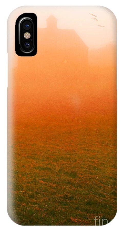 Barn IPhone X Case featuring the photograph Fiery Sunrise On The Farm by Edward Fielding
