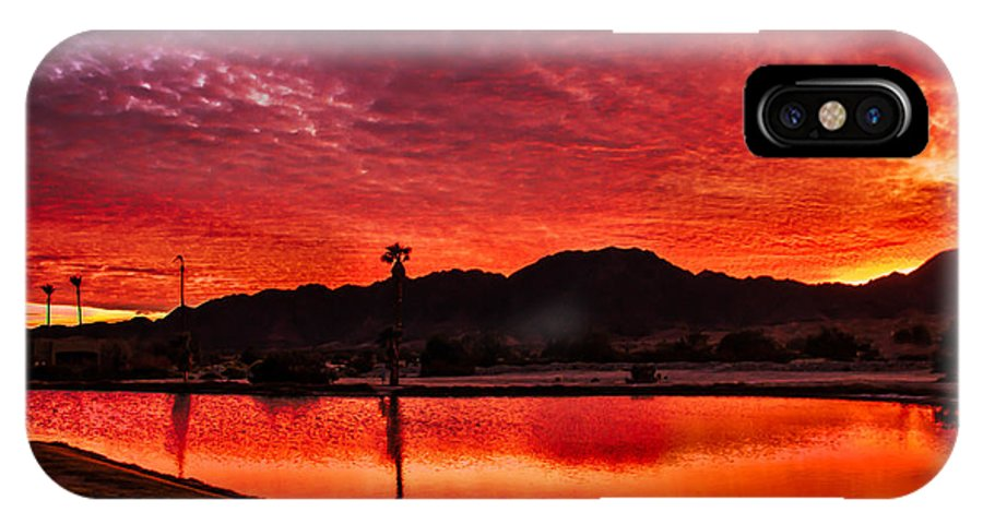 Sunset IPhone X Case featuring the photograph Fiery Sunrise by Robert Bales
