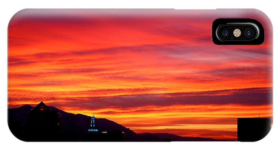 Salt Lake City IPhone X Case featuring the photograph Fiery Sunset by Rona Black