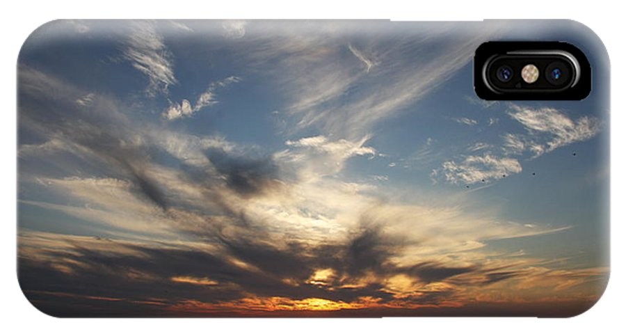 Sunset IPhone X Case featuring the photograph Fiery Sunset Skys by Christiane Schulze Art And Photography