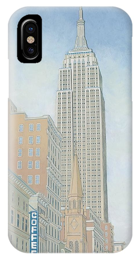 Empire State IPhone Case featuring the painting Fifth Avenue Morning by David Hinchen