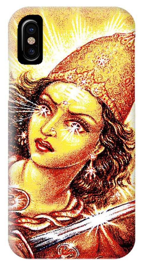 Goddess IPhone X Case featuring the mixed media Fighting Goddess by Ananda Vdovic