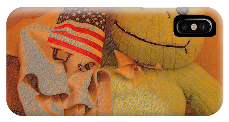 Film Homage The Muppet Movie 1979 Number 1 Froggie Colored Pencil American Flag Casa Grande Arizona 2004 IPhone X / XS Case featuring the photograph Film Homage The Muppet Movie 1979 Number 1 Froggie Colored Pencil American Flag Casa Grande Az 2004 by David Lee Guss