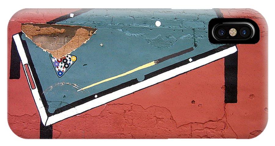 Film Noir Phil Carlson The Phenix City Story 1955 Bar Wall Pool Table Eloy Arizona 2005 IPhone X Case featuring the photograph Film Noir Phil Carlson The Phenix City Story 1955 Wall Diamond Lills Bar Eloy Arizona 2005 by David Lee Guss