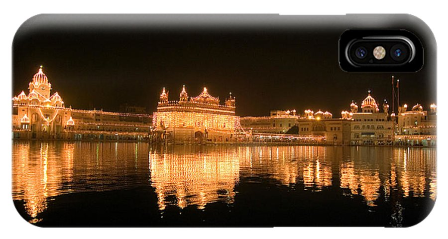 Golden Temple IPhone X Case featuring the photograph Fine Reflection At Night by Devinder Sangha