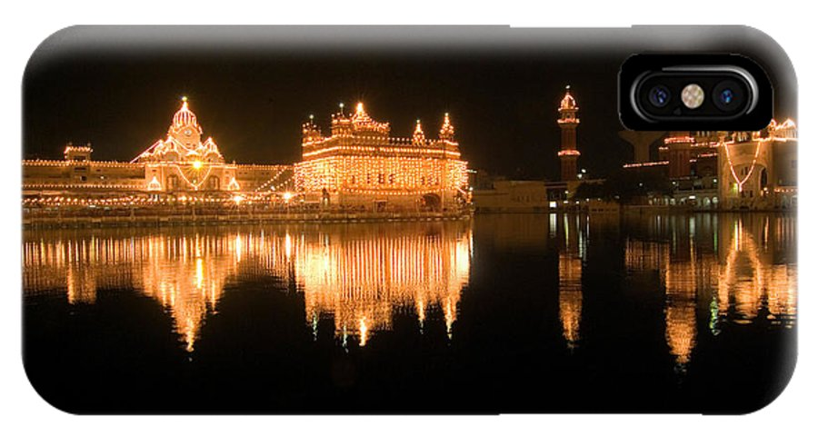 Golden Temple IPhone X Case featuring the photograph Fine Reflection In Water by Devinder Sangha