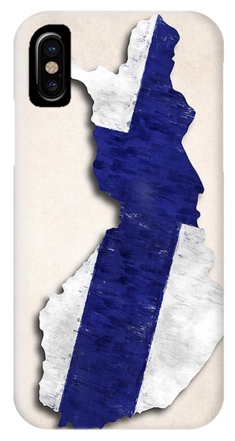 Atlas IPhone X Case featuring the digital art Finland Map Art With Flag Design by World Art Prints And Designs