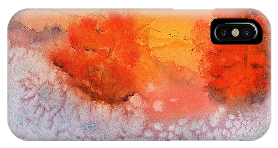 Watercolor IPhone X Case featuring the painting Fire And Ice by Heidi Searle