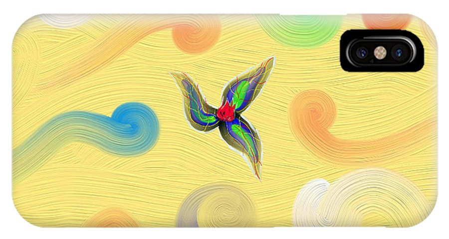Fire IPhone X Case featuring the painting Fire Flower by Victor Alcantar