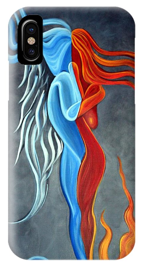 Nude IPhone X Case featuring the painting Fire N Ice by Laura Barbosa