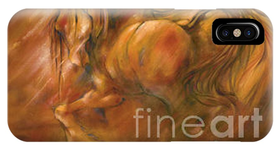 Horse IPhone X Case featuring the painting Fire by Wendy Froshay