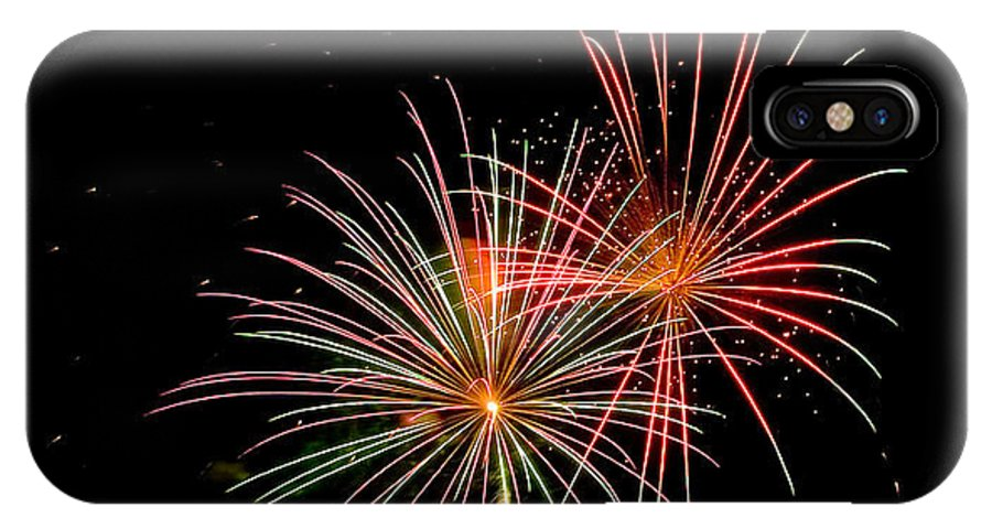 Fireworks IPhone X Case featuring the photograph Fire Works In Sky by Devinder Sangha