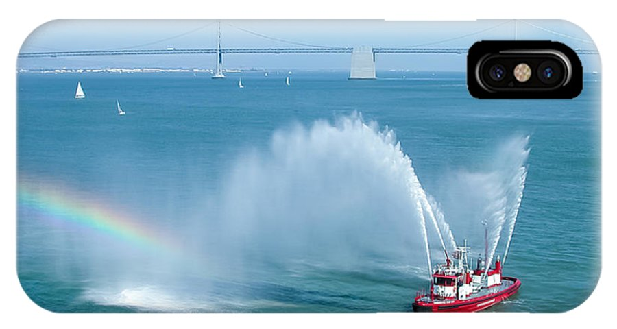 Architecture IPhone X Case featuring the photograph Fireboat Salute by John M Bailey
