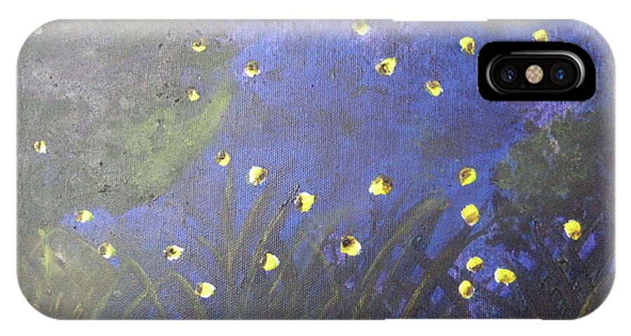 Painting IPhone X Case featuring the painting Fireflies by Dotti Hannum