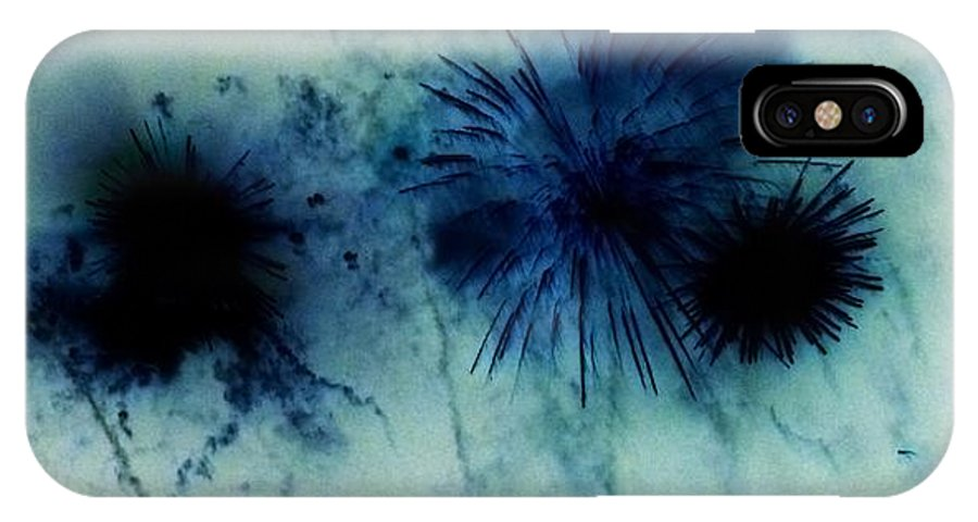 Negative Photo Of Fireworks Exploding. IPhone X Case featuring the photograph Fireworks 2 by Sharon Lisa Clarke