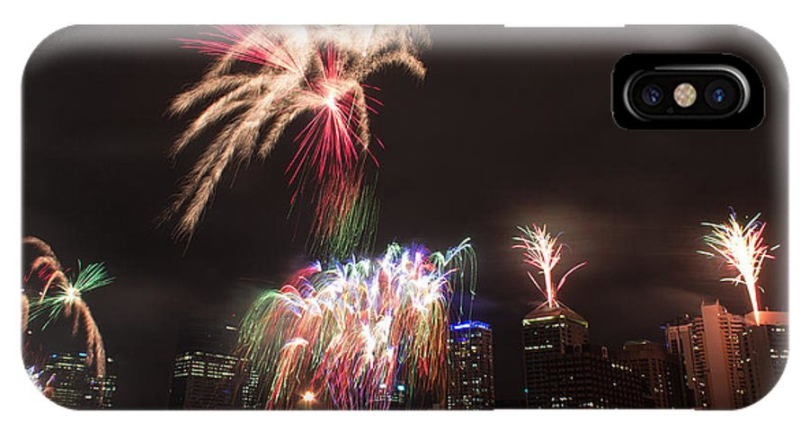 Brisbane IPhone X Case featuring the photograph fireworks over Brisbane by Michael Podesta