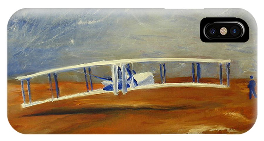 Wright Brothers IPhone X Case featuring the painting First Flight Aka Kittyhawk Dream by Tina Swindell