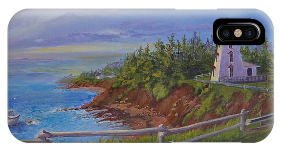 Lighthouse IPhone X Case featuring the painting First Haul by Lorraine Vatcher