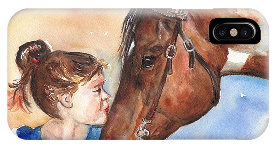 Horse Art IPhone X Case featuring the painting Horse Painting Of Paint Horse And Girl First Kiss by Maria's Watercolor