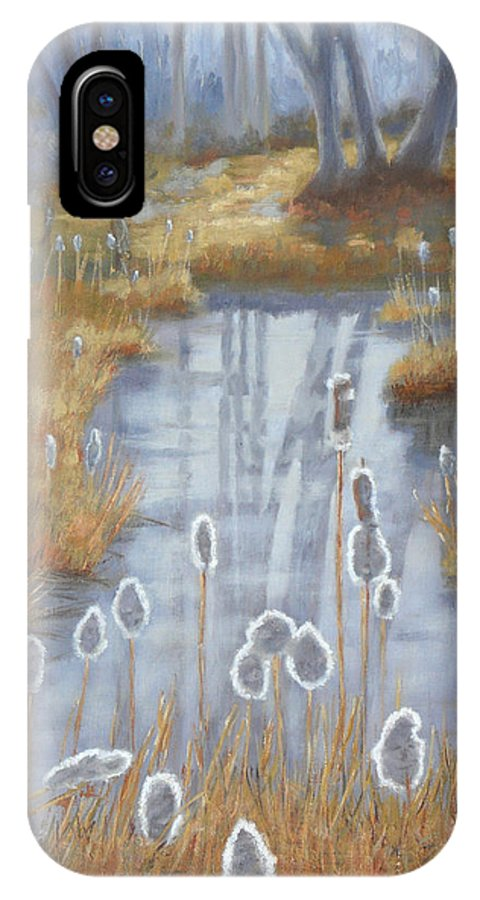 1000 Islands Region IPhone X Case featuring the painting First Light Spring Cattails by Robert P Hedden