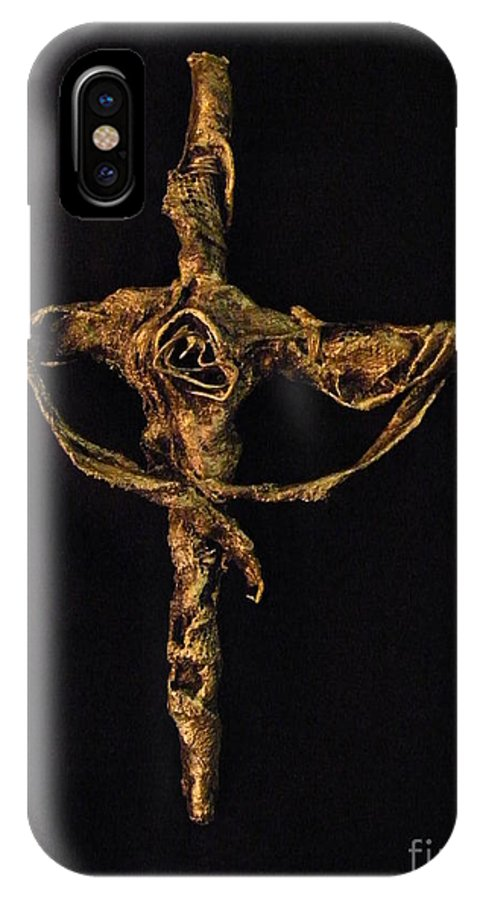 Christ IPhone X Case featuring the sculpture First Rose by Jan Reid