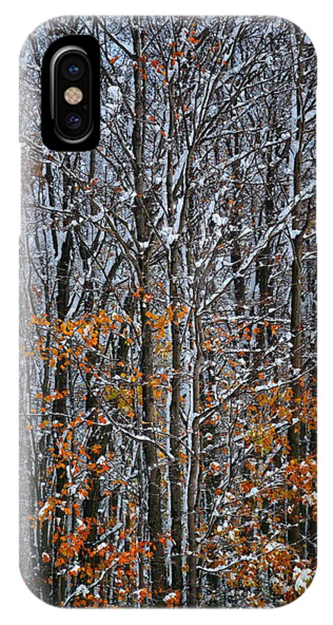 Snow IPhone X Case featuring the photograph First Snow 3 by April Patterson