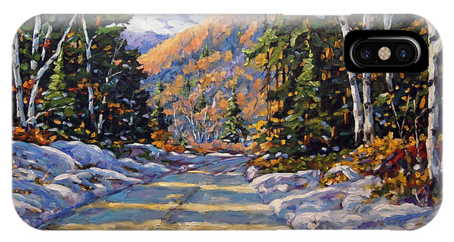 Quebec IPhone X Case featuring the painting First Snow By Prankearts by Richard T Pranke