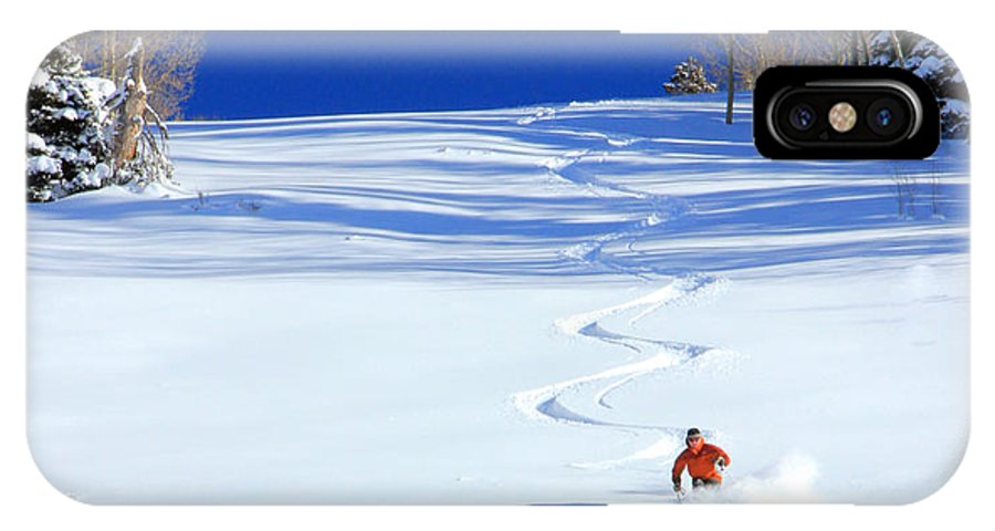 Skiing IPhone X Case featuring the photograph First Tracks by Johnny Adolphson