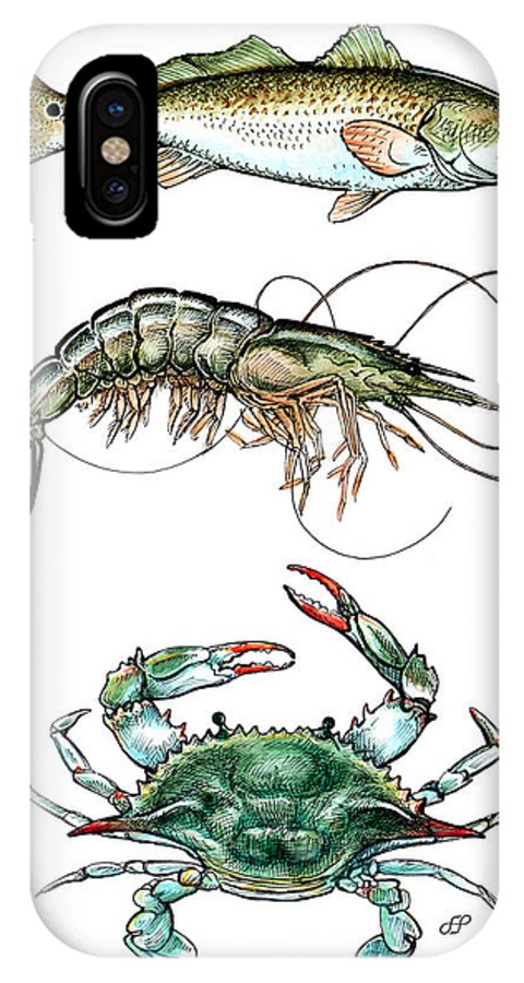 Stephen Herchak IPhone X Case featuring the mixed media Fish Shrimp Crab by Stephen Paul Herchak