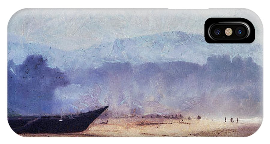 Goa IPhone X Case featuring the photograph Fisherman Boat On The Goan Coast. India by Jenny Rainbow