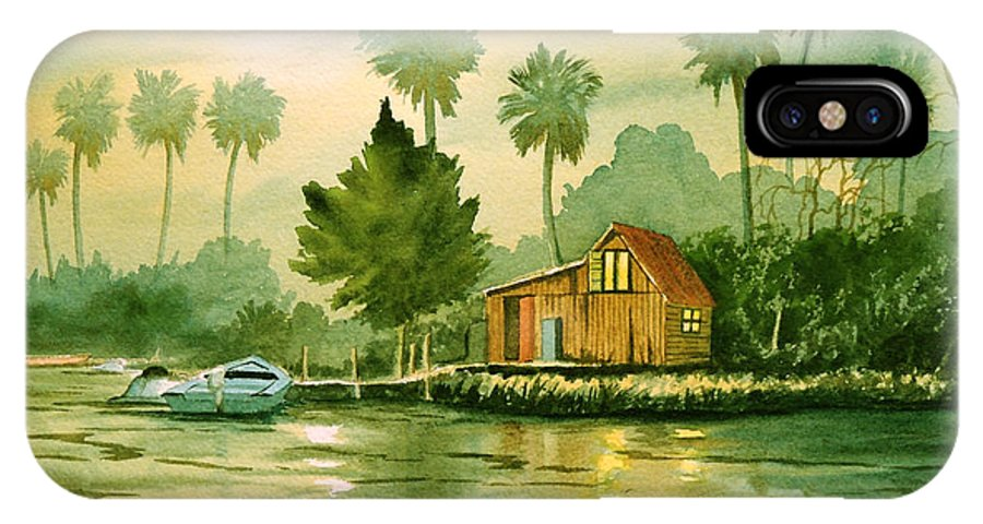 Aucilla River Florida IPhone X Case featuring the painting Fishing Cabin - Aucilla River by Bill Holkham
