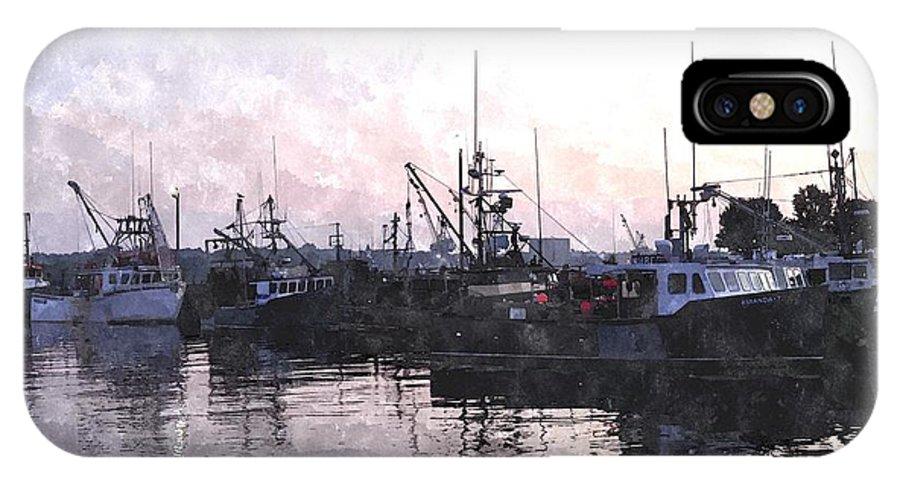 Boat IPhone X Case featuring the digital art Fishing Fleet Ffwc by Jim Brage