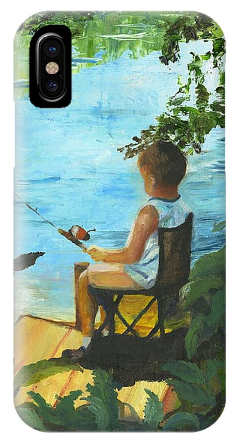 Fishing IPhone X Case featuring the painting Fishing Off The Dock by Gloria Condon
