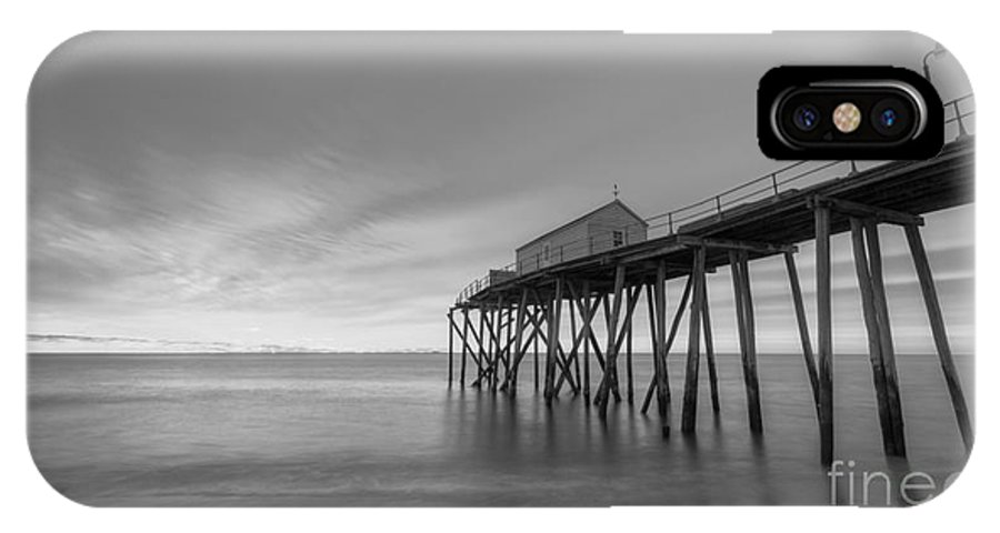 Fishing Pier IPhone X / XS Case featuring the photograph Fishing Pier Sunrise Bw 16x9 by Michael Ver Sprill