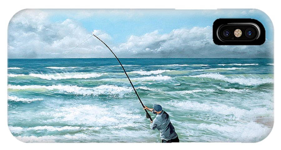 Seascape IPhone X Case featuring the painting Fishing The Gutters by Paul Bennett