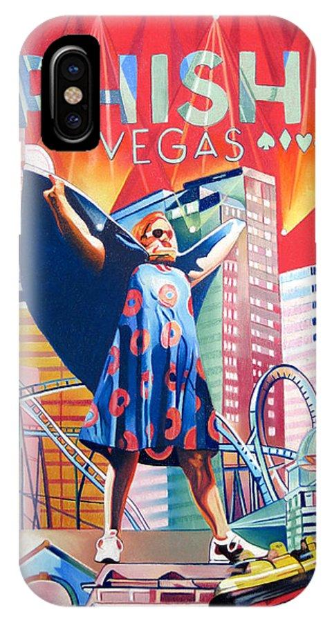 Phish IPhone X Case featuring the drawing Fishman In Vegas by Joshua Morton