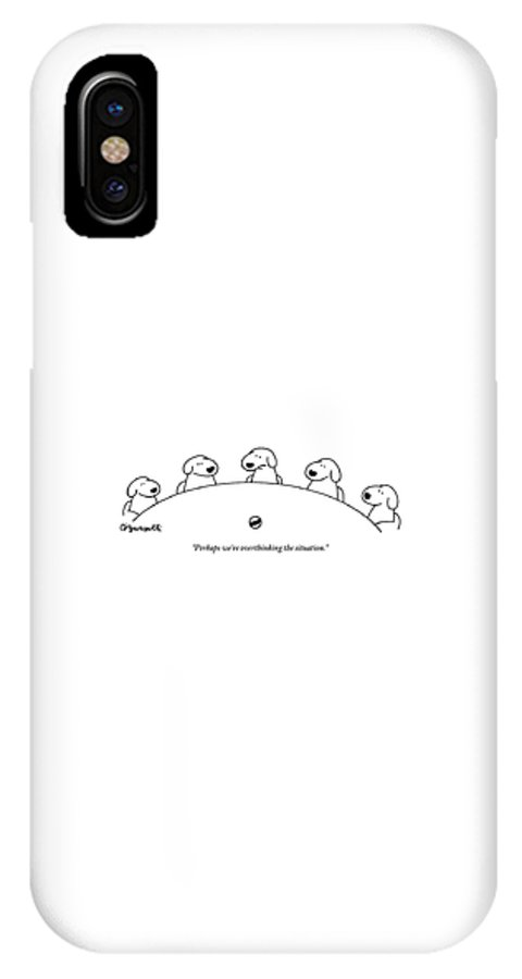 Dogs IPhone X Case featuring the drawing Five Dogs Sitting Around A Roundtable by Charles Barsotti