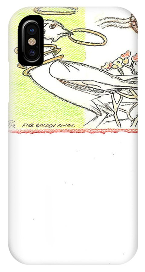 Christmas Greeting Cards IPhone X Case featuring the drawing Five Golden Rings by Kippax Williams