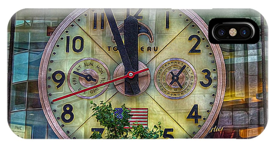 Clock IPhone X Case featuring the photograph Five To Twelve by Hanny Heim