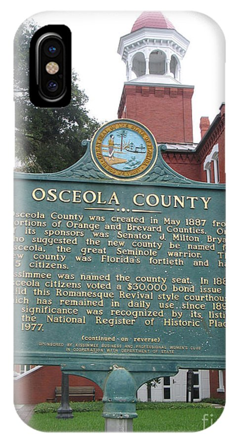Historic Marker IPhone X Case featuring the photograph Fl-f304 Osceola County by Jason O Watson