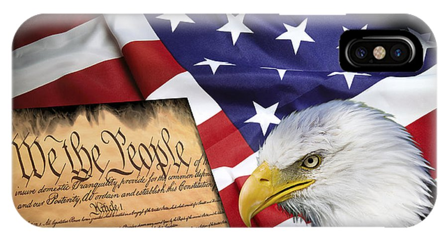 America IPhone X Case featuring the digital art Flag Constitution Eagle by Daniel Hagerman