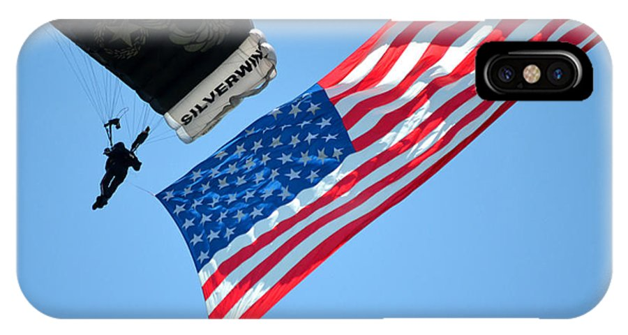 American IPhone X Case featuring the photograph Flag Flying High by Steven Livingston