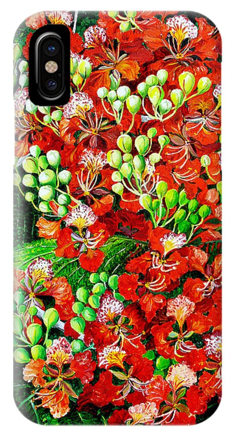 Royal Poincianna Painting Flamboyant Painting Tree Painting Botanical Tree Painting Flower Painting Floral Painting Bloom Flower Red Tree Tropical Paintinggreeting Card Painting IPhone X Case featuring the painting Flamboyant in Bloom by Karin Dawn Kelshall- Best