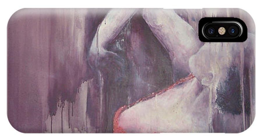 Flamenco Dance Sport Female Red Purple IPhone X Case featuring the painting Flamenco 4 by Jos Van de Venne